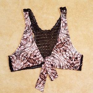 Volcom Print Tie Front Bikini in size Large